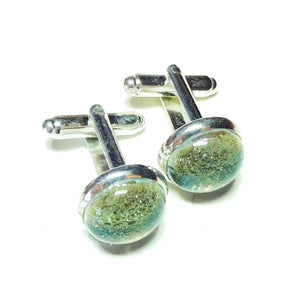Grey Handmade Dichroic Fused Glass Cufflinks