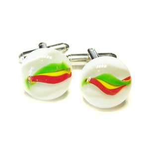 White Patterned Handmade Fused Glass Round Cufflinks