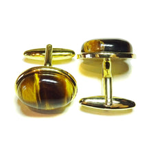 Load image into Gallery viewer, Brown Tiger's Eye Semi-precious Gemstone Cufflinks - Gold Plated