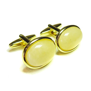 Pale Orange Aventurine Semi-precious Gemstone Gold Plated Cufflinks - Angled