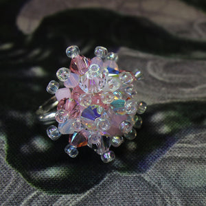 Pink & White Hand Sewn Swarovski Crystal Cluster Ring - Vintage Rose - Adjustable