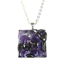 Load image into Gallery viewer, Purple Amethyst & Grey Haematite Gemstone Chip Square Pendant