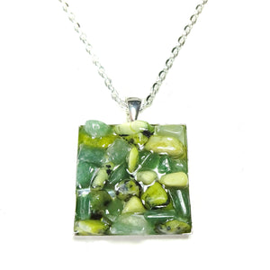 Green Aventurine & Yellow Turquoise Gemstone Chip Square Pendant