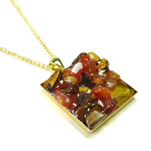 Load image into Gallery viewer, Brown Tiger's Eye & Orange Carnelian Gemstone Chip Square Gold Plated Pendant