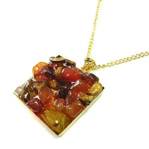 Brown Tiger's Eye & Orange Carnelian Gemstone Chip Square Gold Plated Pendant