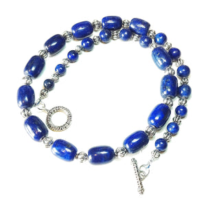 Blue Lapis Lazuli Semi-Precious Gemstone Necklace 22.5 inches
