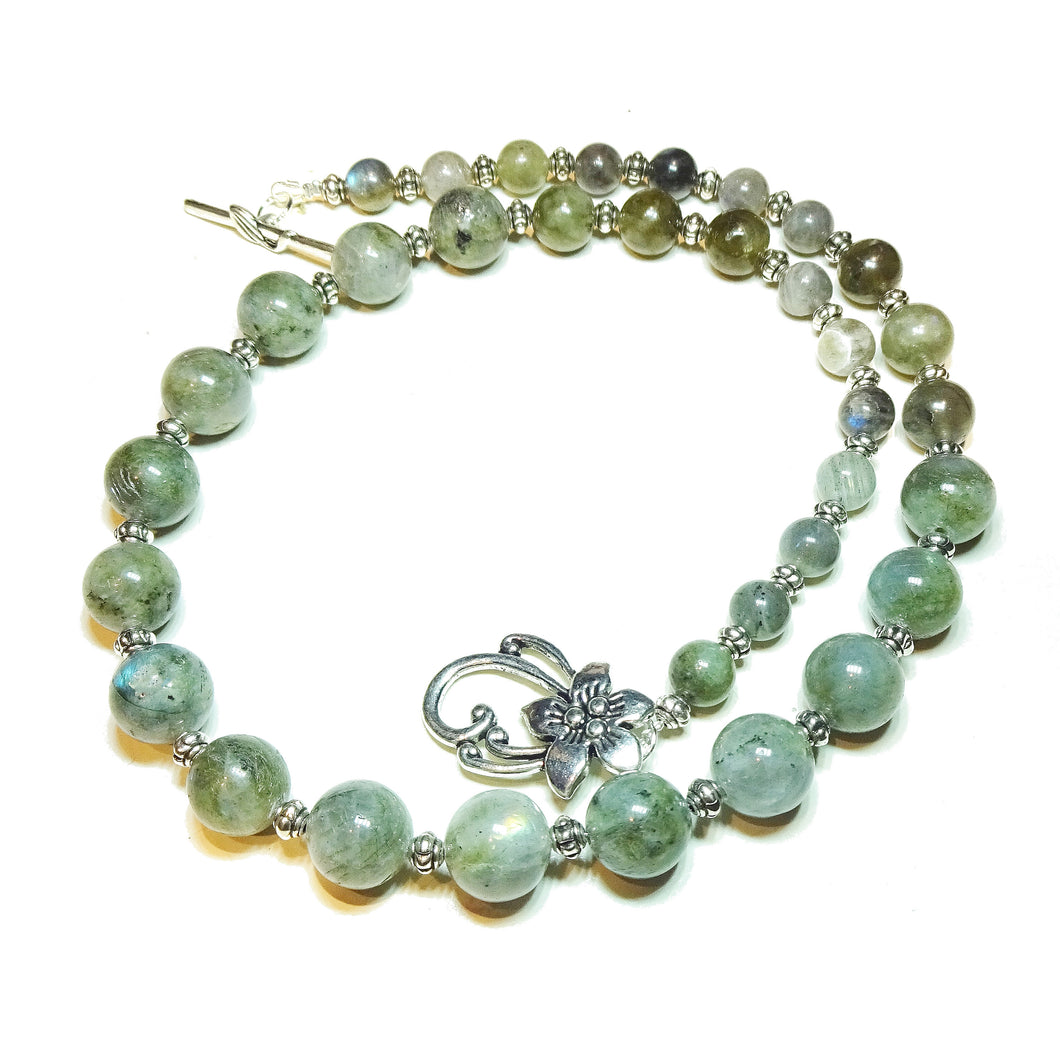 Grey Labradorite Semi-Precious Gemstone Graduated Necklace - 21.5 inches