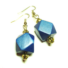 Load image into Gallery viewer, Navy Blue Geometric Handcrafted Wood & Gold Earrings