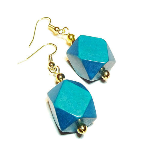 Teal Blue Geometric Handcrafted Wood & Gold Earrings