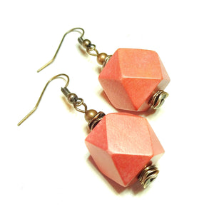 Coral Geometric Handcrafted Wood & Copper Earrings