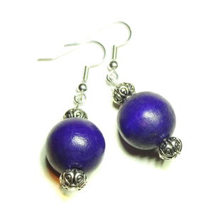 Dark Purple Large Handcrafted Wood Earrings