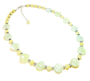 Pale Green New Jade & Honey Jade Gemstone Semi-Precious Necklace 22-24.5 inches