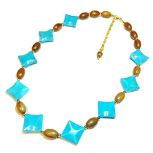 Load image into Gallery viewer, Blue Turquoise Gemstone, Wood & Gold Plated Necklace - 22.5-24.5 inches