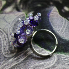 Load image into Gallery viewer, Purple, Mauve, Lilac Hand Sewn Swarovski Crystal Cluster Ring - Adjustable