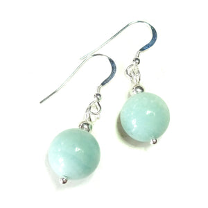 Blue Amazonite & Sterling Silver Gemstone Ball Drop Earrings - 12mm
