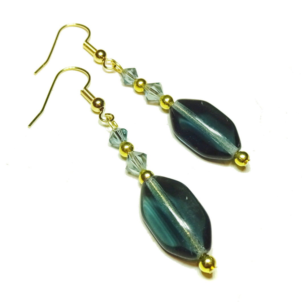 Smokey Blue and Gold Czech Glass & Swarovski Crystal Earrings