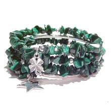 Load image into Gallery viewer, Green Malachite Gemstone Chip Memory Wire Wrap Cuff / Bangle