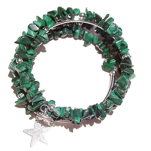 Green Malachite Gemstone Chip Memory Wire Wrap Cuff / Bangle