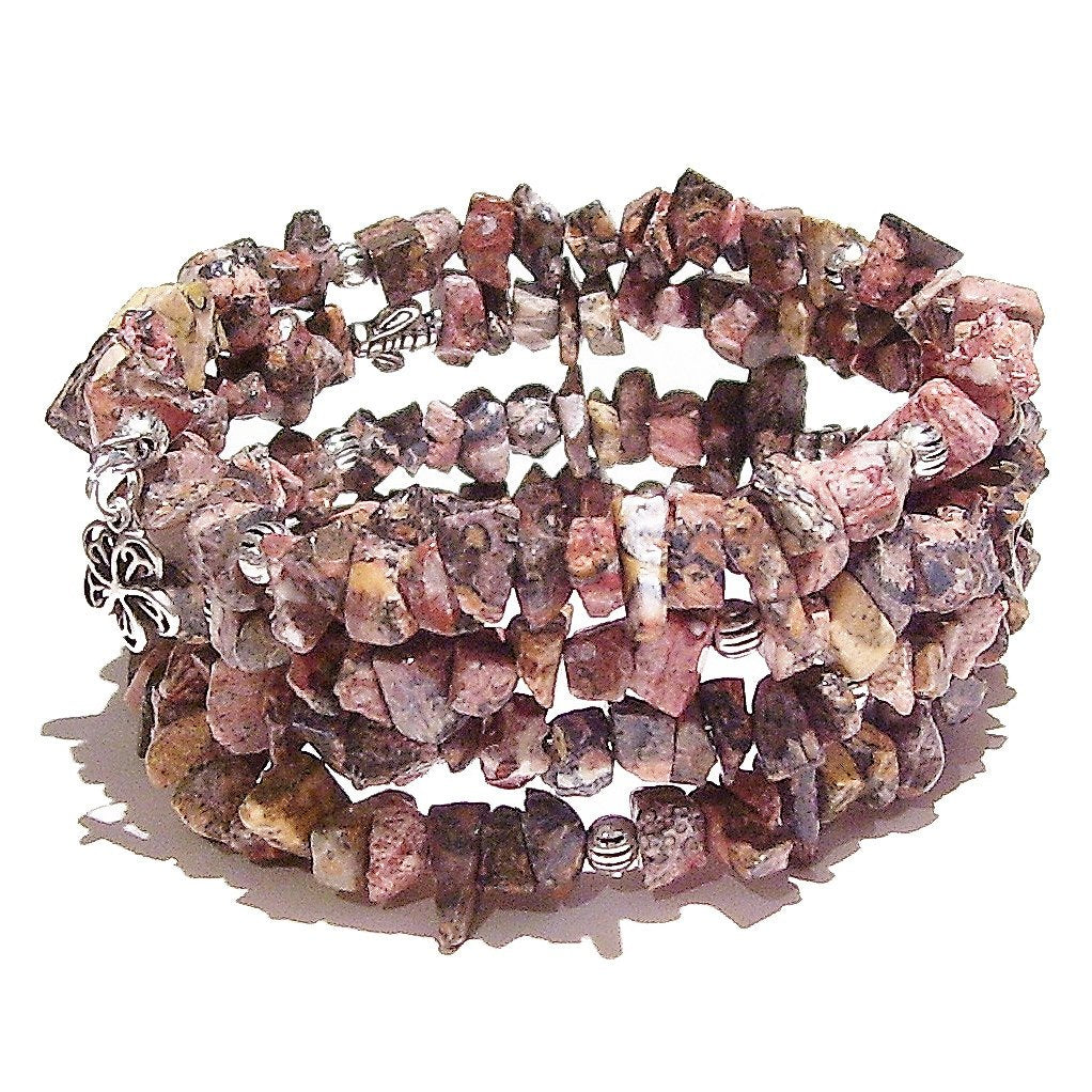 Leopardskin Jasper Gemstone Chip Memory Wire Wrap Cuff / Bangle