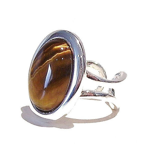 Brown Tiger's Eye Classic Semi-precious Gemstone Adjustable Ring 23 x 17mm