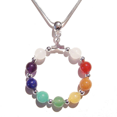 Semi-precious Hoop Chakra / Meditation Pendant - Silver or Gold Plated