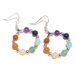 Rainbow Semi-precious Chakra / Meditation Hoop Earrings - Silver or Gold Plated 25mm