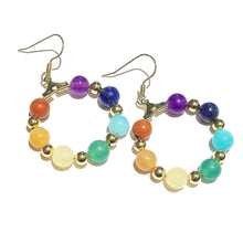 Load image into Gallery viewer, Rainbow Semi-precious Chakra / Meditation Hoop Earrings - Silver or Gold Plated 25mm