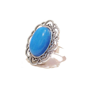Antique Silver-Tone Filigree Ring w Blue Electric Spar