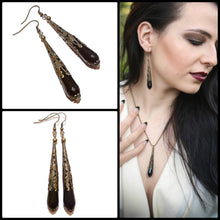 Load image into Gallery viewer, Gothic Black Onyx & Antique Brass Faceted Tear Drop Earrings