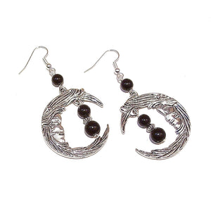 Gothic Crescent Moon Earrings w Gemstone Black Onyx
