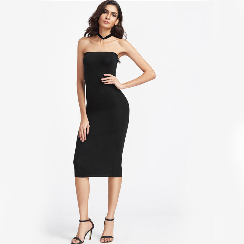 0201e2abd15 COLROVIE Bandeau Party Dress 2017 Women Black Strapless Sexy Bodycon Midi Summer  Dresses Fashion Brief Slim