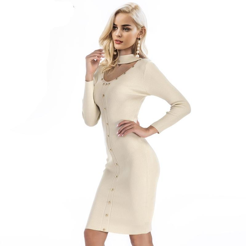 5706e1dcc1f Simplee Choker rivet v neck bodycon dress women Long sleeve spring knitted midi  dress Female slim