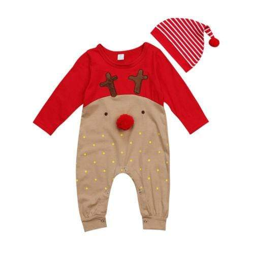 Baby Reindeer Christmas Jumpsuit & Hat Set Little Sunshine Baby Shop