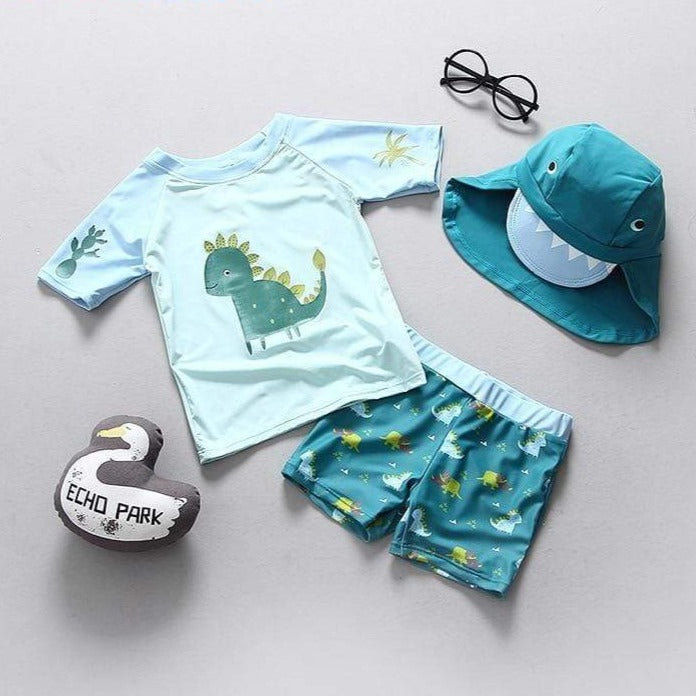 Boys 3 Piece Dinosaur Swimsuit Set - 14:175#SIZE 90 (65-75CM) - Boys, swimsuit| Little Sunshine Baby Shop
