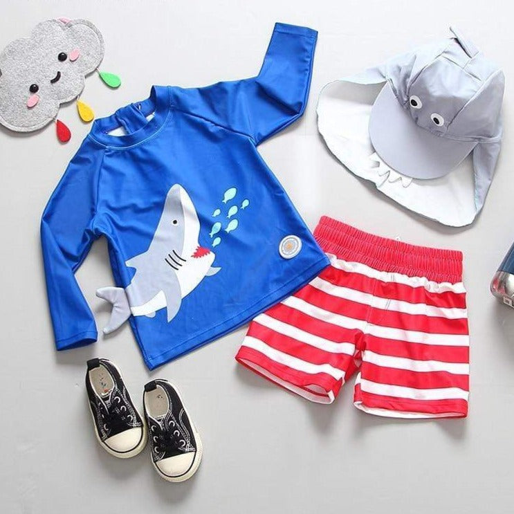 Boys 3 Piece Shark Swimsuit Set - 14:173#SIZE 90 - Boys, swimsuit| Little Sunshine Baby Shop