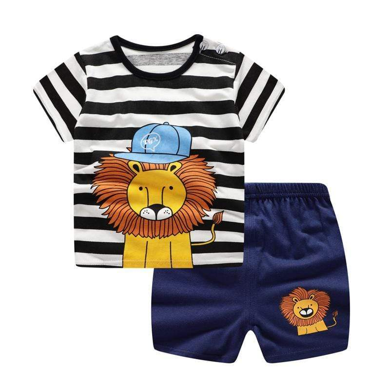 Boys Lion Hat Striped Short Sleeve T-Shirt Shorts Outfit - 14:365458#Slion;200000463:200661895 - | Little Sunshine Baby Shop
