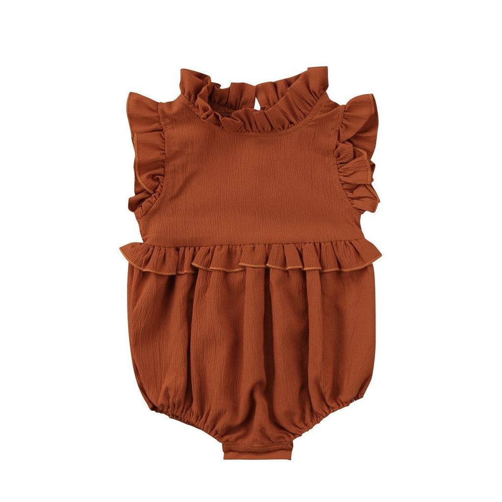 Little Sunshine Limited  31008 Brown / 6M Cute Pastel Sleeveless Frilly Rompers