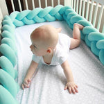 Handmade Braided Baby Crib Protector - blue1m - Crib Accessories, Crib Bumpers, Decor| Little Sunshine Baby Shop