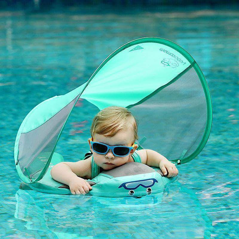 Mambo Baby Float with Optional Canopy - Safety Swimming Trainer 3.0 (2019 Revision) - GreenCanopy - Bath & Pool Floats, Learning, Safety, Swim Trainers| Little Sunshine Baby Shop