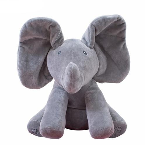 Peek A Boo Plush Toy - Singing & Talking Elephant Little Sunshine Limited Grey