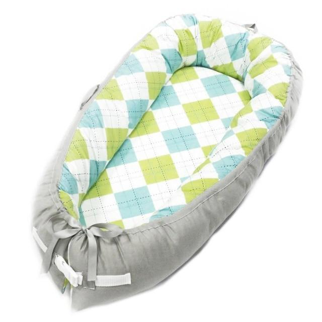Portable Baby Nest Crib With Bonus Carry Pack Little Sunshine Limited Green & Blue Checkered
