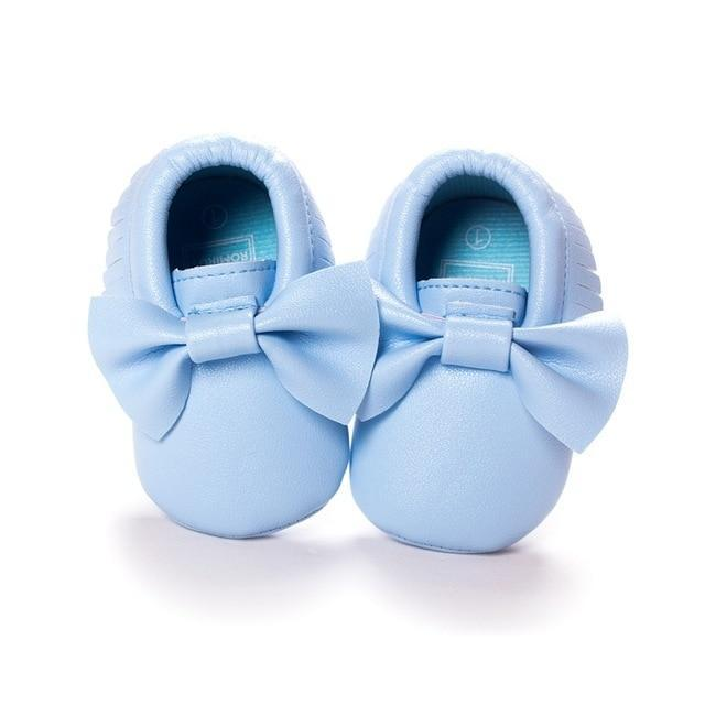 Soft Leather Moccasin Baby Shoe with Bow Little Sunshine Limited Blue / 3