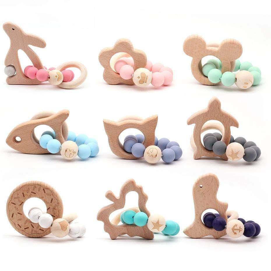 Wooden Animals Baby Teether - 14:193#01 - Teethers| Little Sunshine Baby Shop