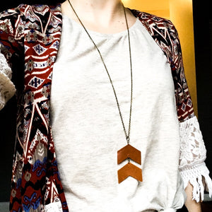 Chevron Leather Pendant Necklace