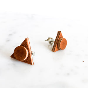 Dimension Leather Post Earring