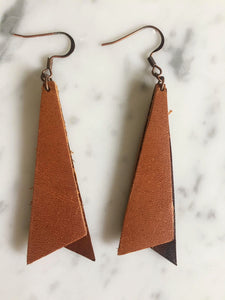 Geometric Teardrop Leather Earring