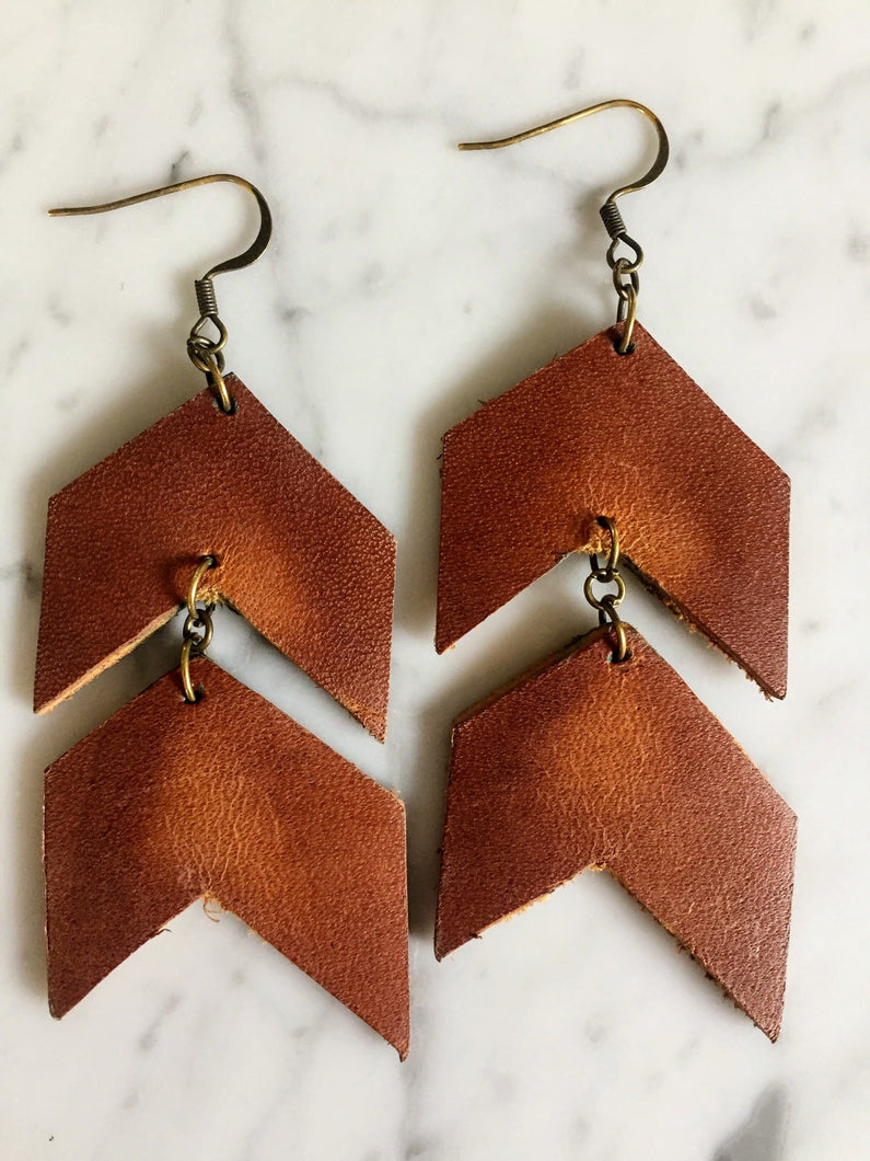 Asymmetrical Chevron Leather Earring