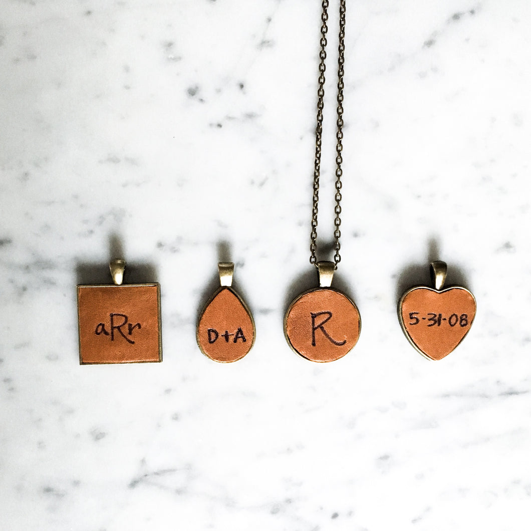 Customizable Metal and Leather Pendant Necklace