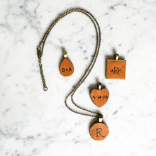 Load image into Gallery viewer, Customizable Metal and Leather Pendant Necklace