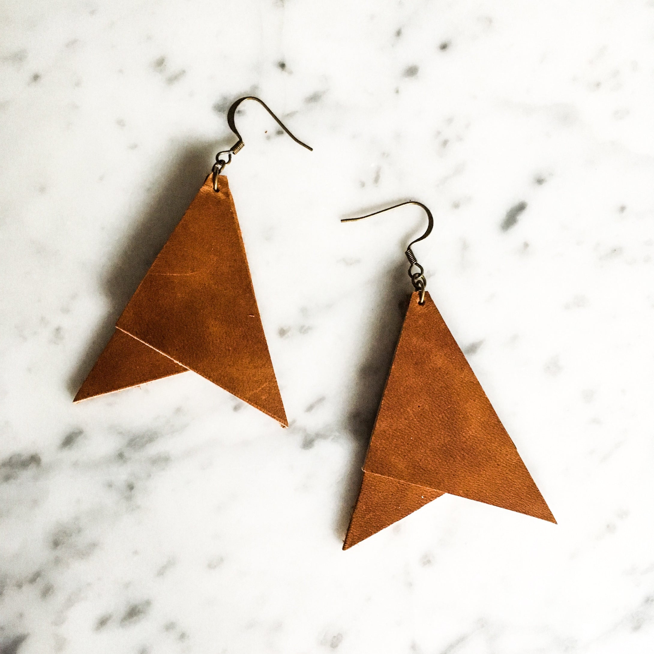 Oversized Geometric Leather Earring